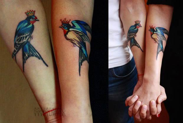 Couple Matching Watercolor Bird Tattoos