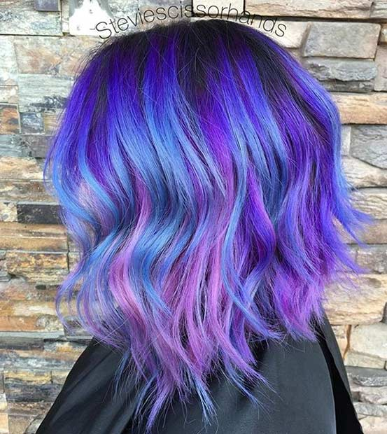 31 colorful hair looks to inspire your next dye job page 3 of 3 purple hair with light blue highlights pmusecretfo Images