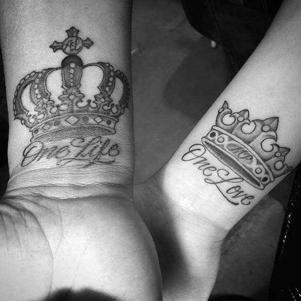 Matching Wrist Crown Tattoos for Couples