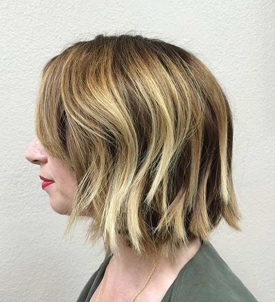 Choppy Short Bob Cut with Blonde Highlights
