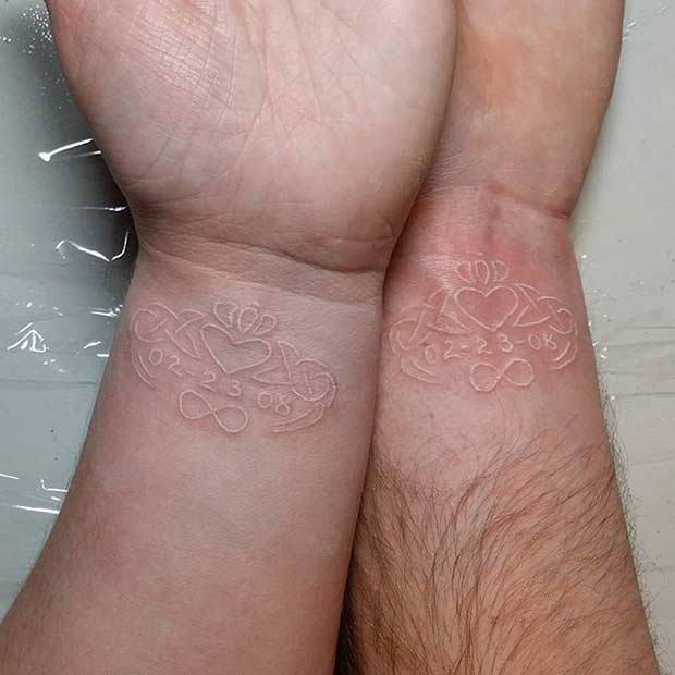 Matching White Ink Couple Tattoo