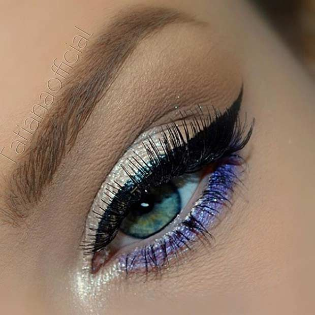 Champagne and Purple Eye Makeup Look