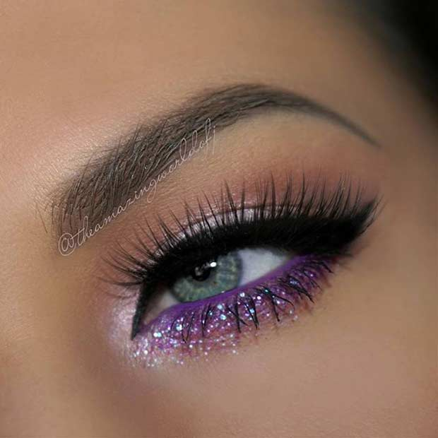 Purple Lower Lash Line Eye Makeup Look