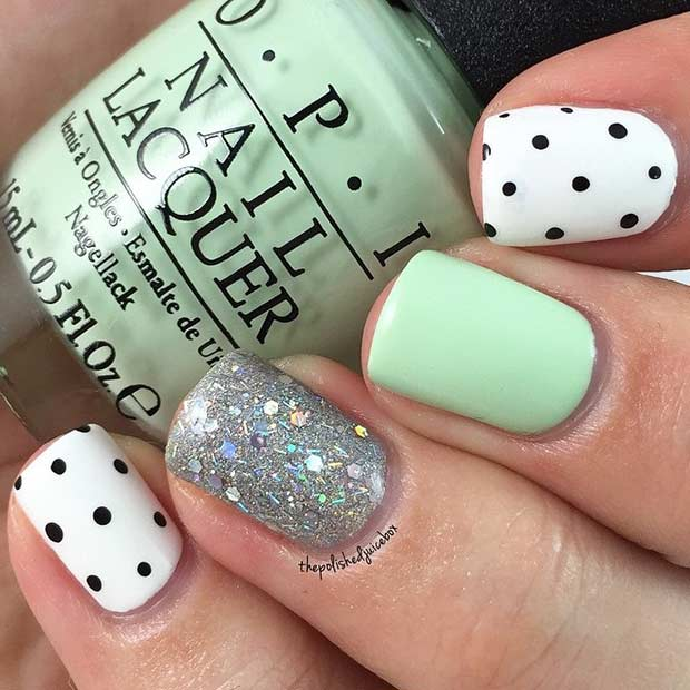 55 super easy nail designs stayglam easy mint and polka dot nail design prinsesfo Image collections