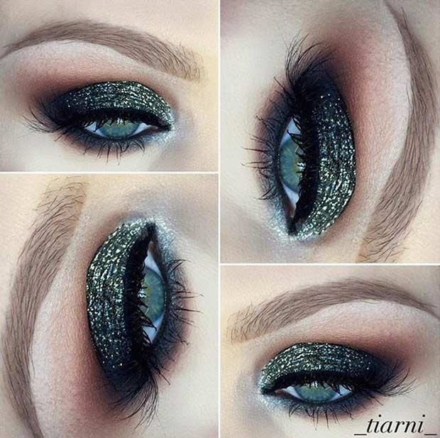 Dark Green Glitter Eye Makeup Look