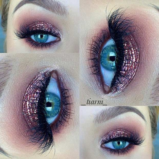 Rose Gold Smokey Eye Look for Blue Eyes