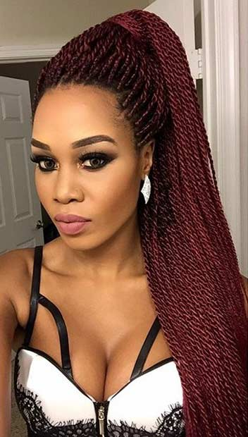 Twists Hairstyles kinky twists updo with side bangs Micro Twists Half Up Half Down Hairstyle