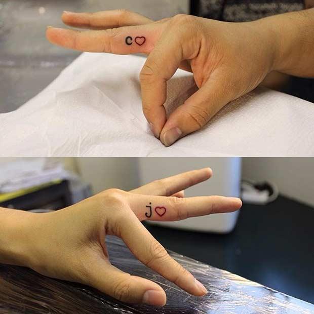 Couple Initials Finger Tattoos
