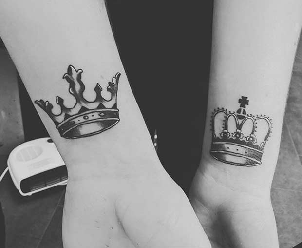 Couples Crown Wrist Tattoos