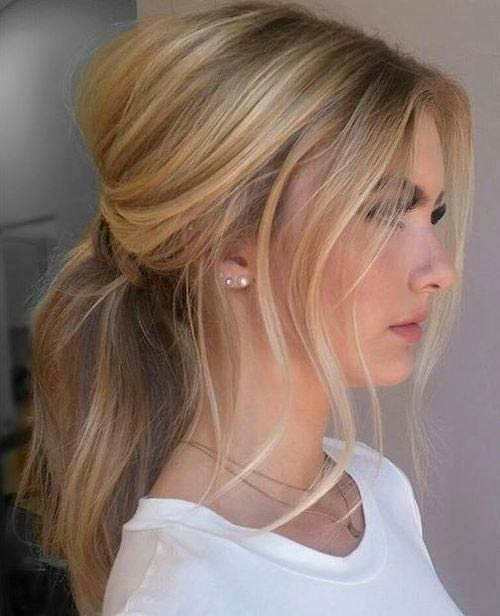 Messy Volume Ponytail Hairstyle