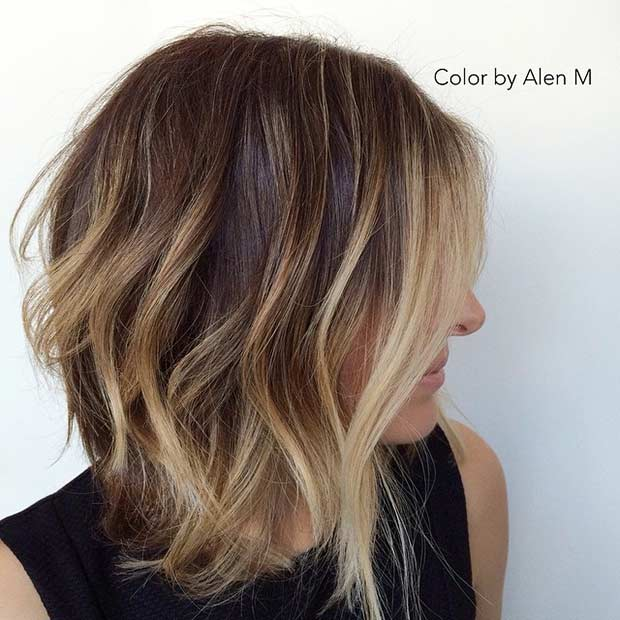Long Bob Haircut with Layers and Balayage Highlights