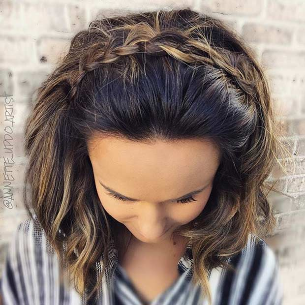 Braided Headband Wedding Hairstyle for Medium Length Hair