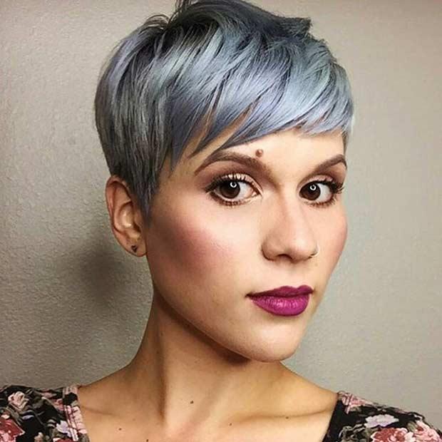 Short Grey Blue Pixie Haircut
