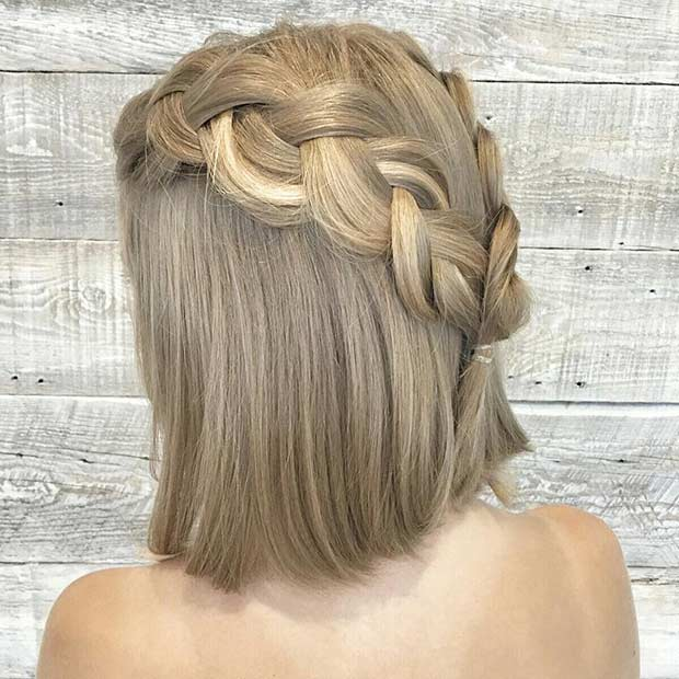 Braided Half Updo for Medium Length Hair