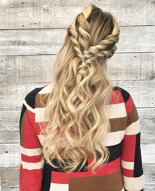 Rope Twist Half Updo for Long Hair