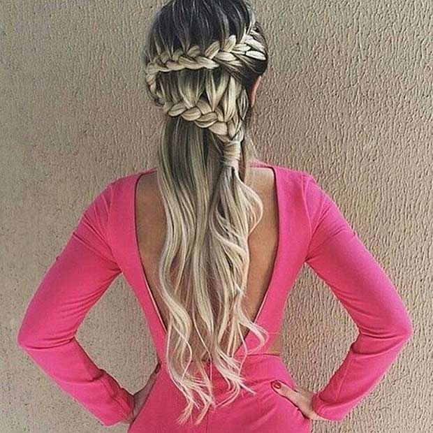 French braid Half Updo for Long Hair