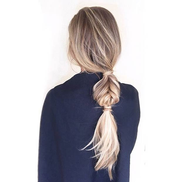 Fishtail Braid Low Ponytail for Long Hair