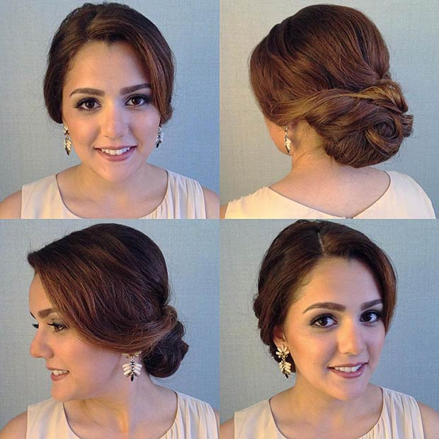 Elegant Low Bun Updo for Prom
