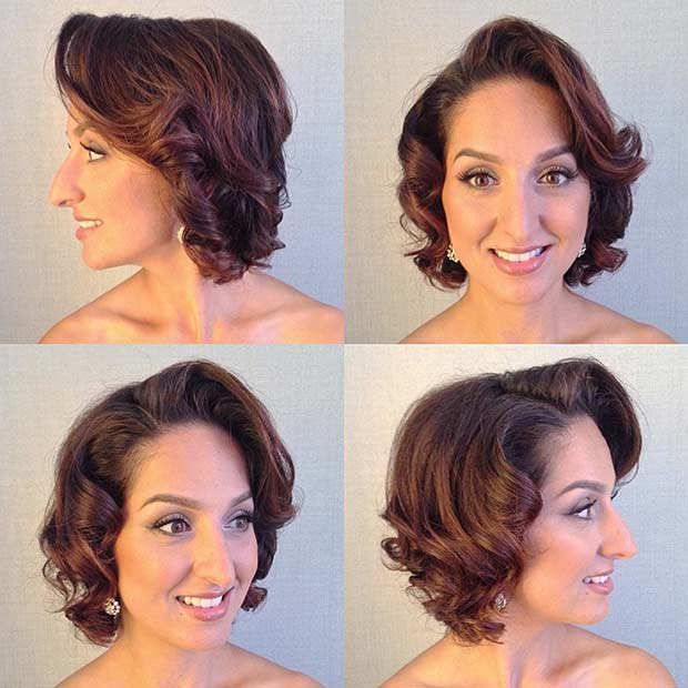 Modern Vintage Wedding Hairstyle for Short Hair