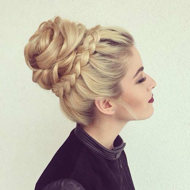 Prom High Bun Updo for Long Hair