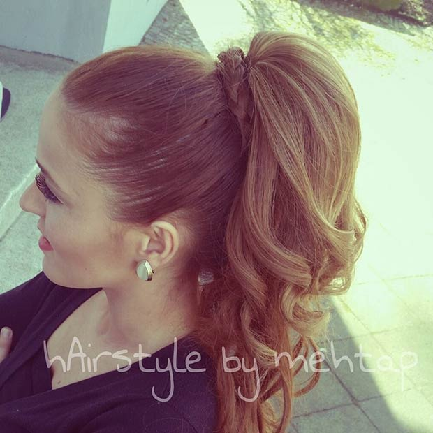 Curly High Ponytail With Braided Hair Tie