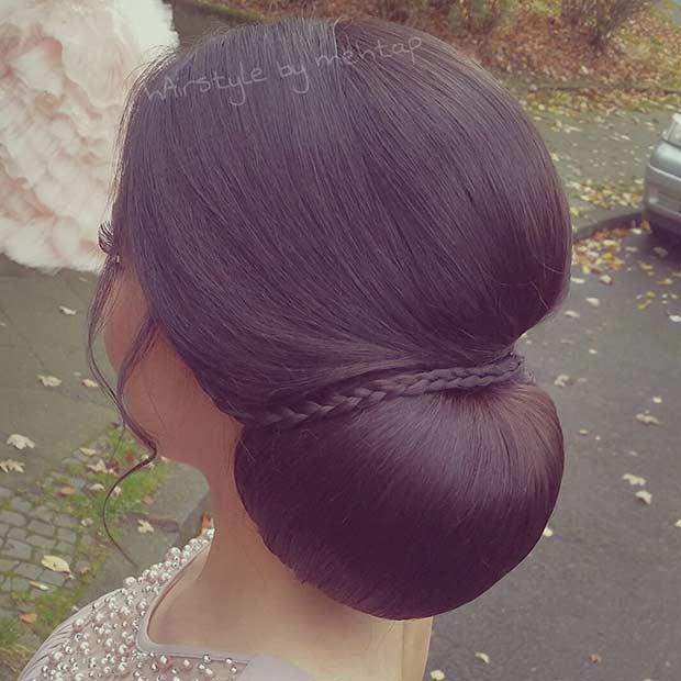 Elegant Chignon Bun with a Braid