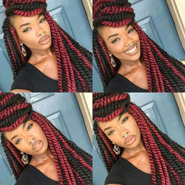Combine Box Braids Into Ger Strands And Finish Them Off With A Few Fl Accents For