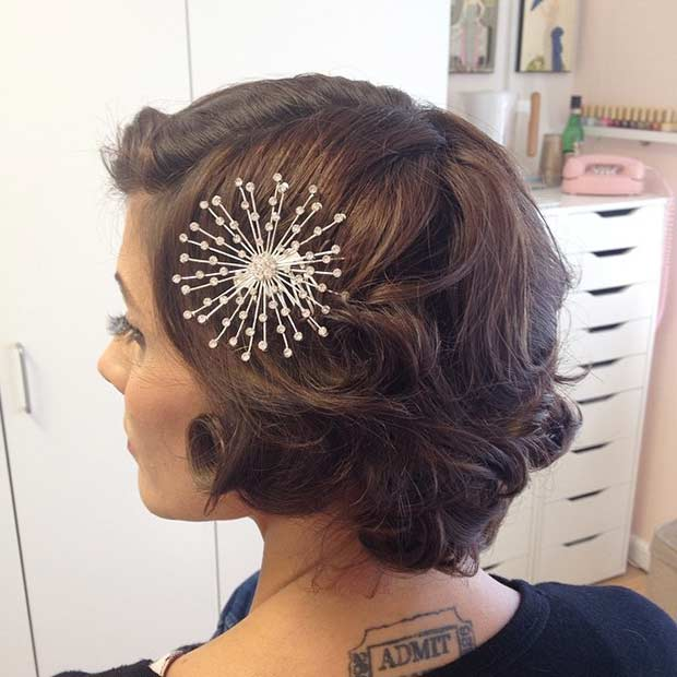 Curly Retro Wedding Hairstyle for Short Hair