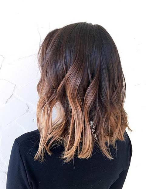 Wavy Long Bob with Chocolate Highlights