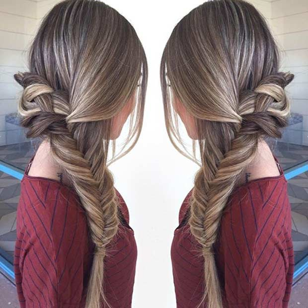 Loose Side Swept Fishtail Braid