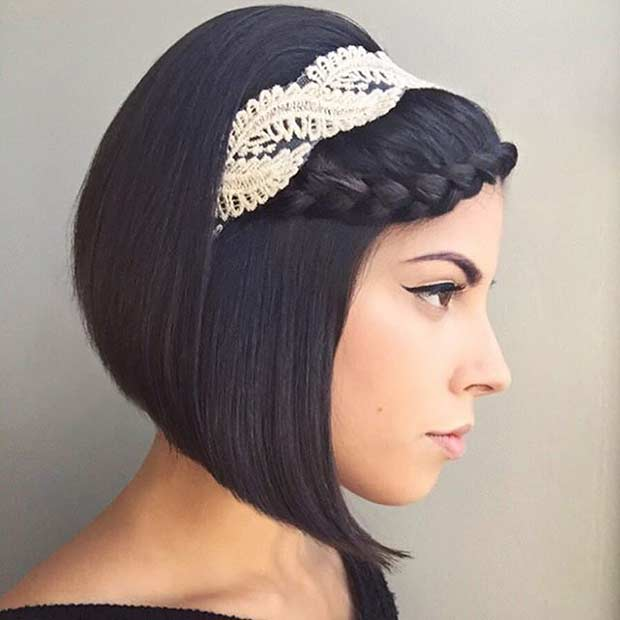Wedding Bob Hairstyle with Headband and Braid