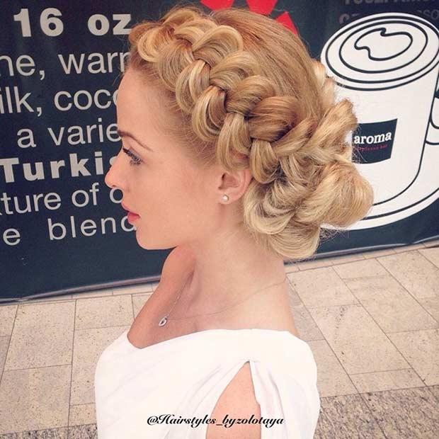 Dutch Braid Updo for Bridesmaids