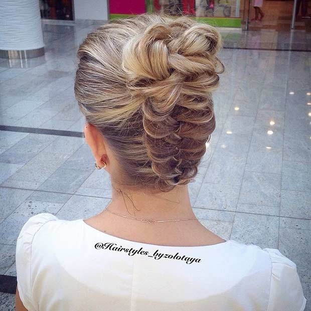 Upside Down Braid Bun Hairstyle