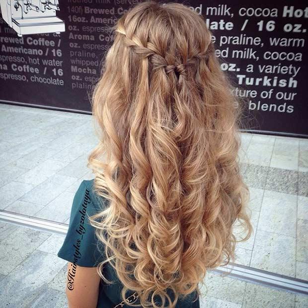 Marvelous Waterfall Braid Prom Hairstyles 2016 Braids Short Hairstyles Gunalazisus