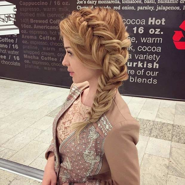 Side Fishtail Braid Hairstyle for Prom
