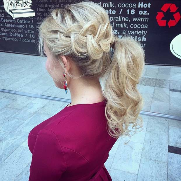 Dutch Braid into a Ponytail Hairstyle