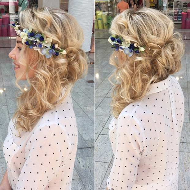 Curly Hairstyle with Flowers for Prom