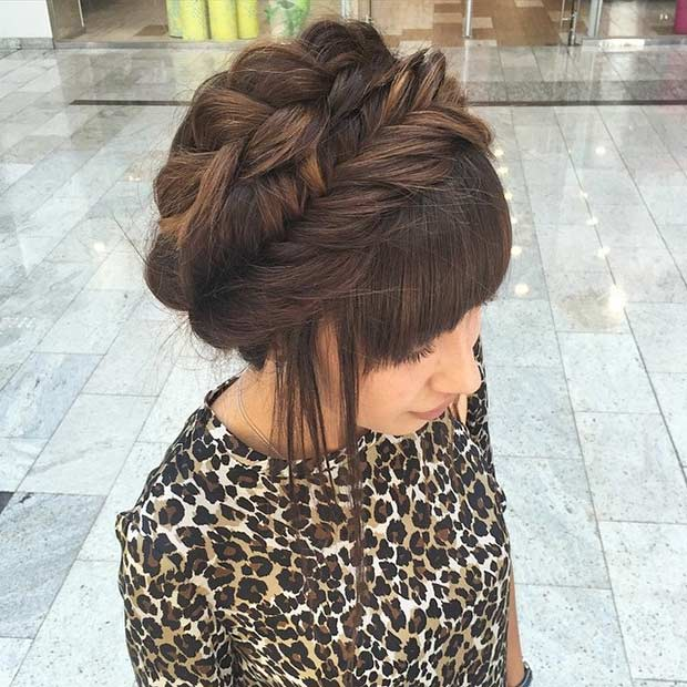 Elegant Milkmaid Braid Updo for Prom