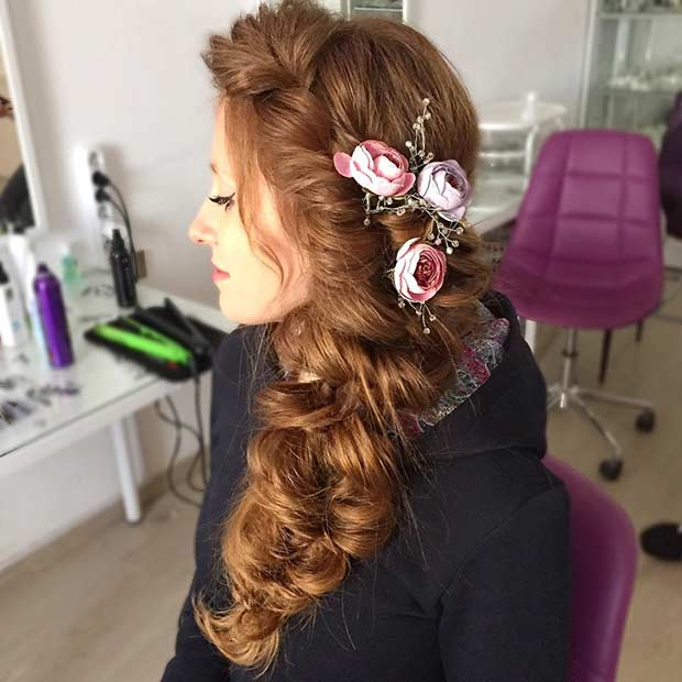 Big Curly Hair to the Side with Flowers