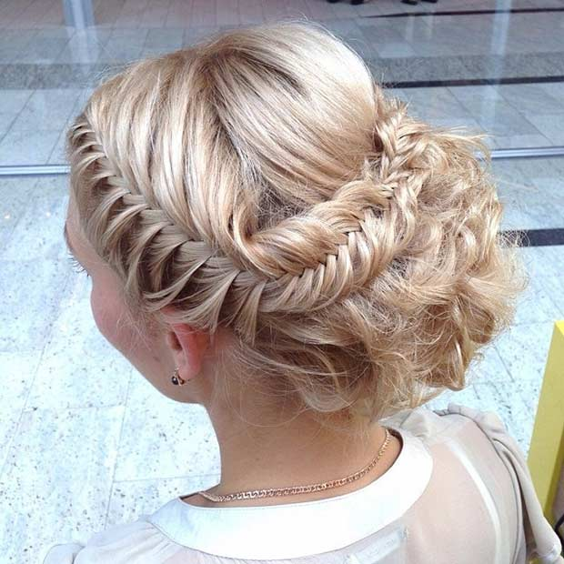 Fishtail Braid Updo for Prom