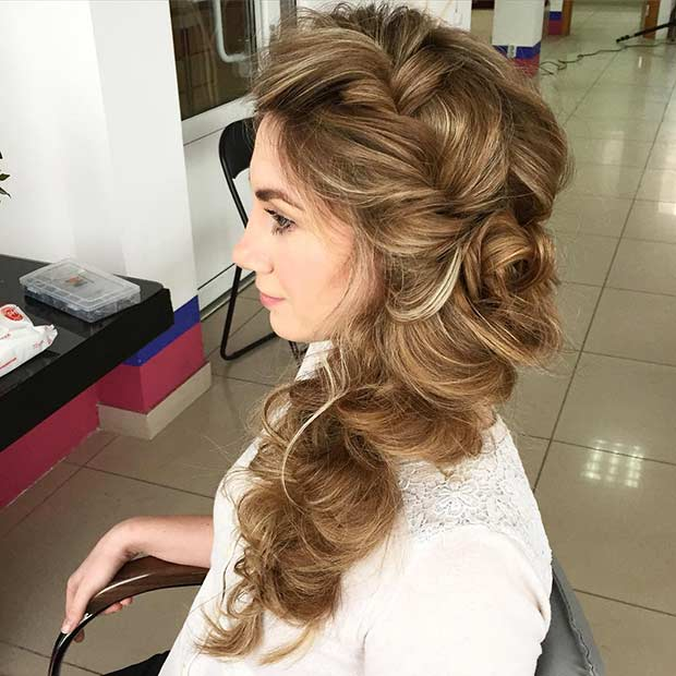 Big Voluminous Side Braid Hairstyle