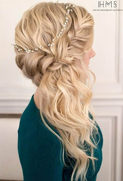 Romantic Half Up Half Down Prom Hairstyle to the Side