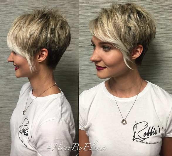 Blonde Pixie Cut with Longer Bangs