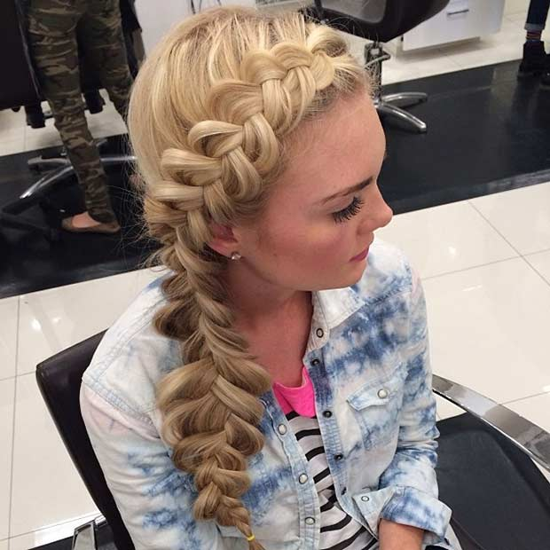 Side Fishtail Braid Prom