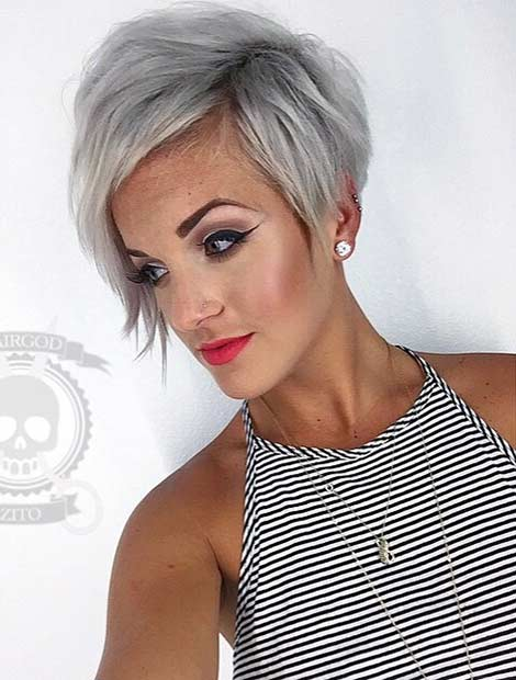 Grown Out Grey Pixie Cut