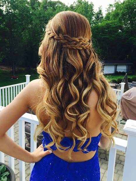 Curly Half Updo For Prom