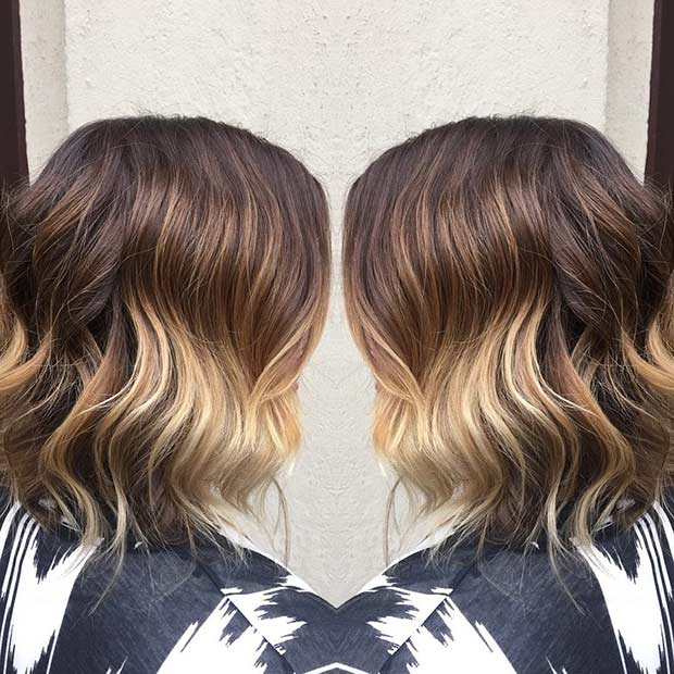 Wavy Ombre Balayage Lob Hairstyle