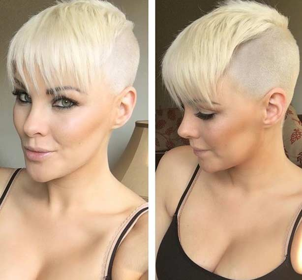 Shaved Side Blonde Pixie Cut