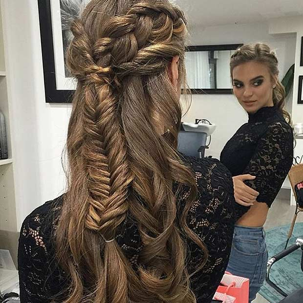 Braided Half Updo Hairstyle for Prom