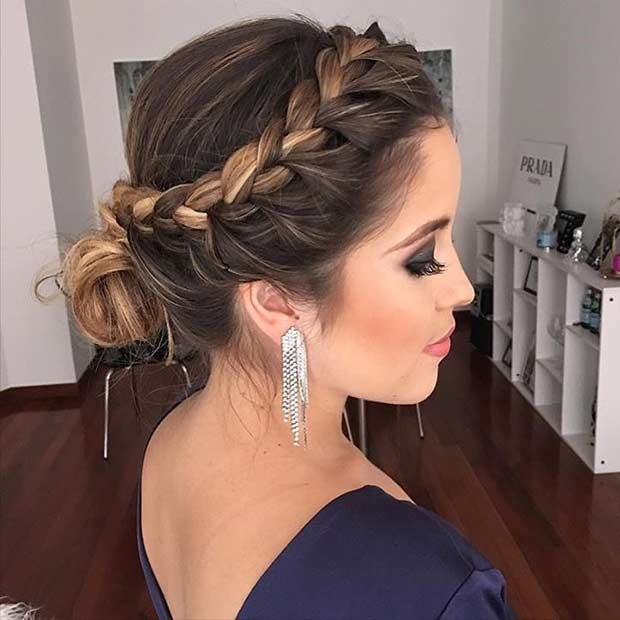 Side Braid into Low Bun Prom Updo - 31 Most Beautiful Updos For Prom StayGlam